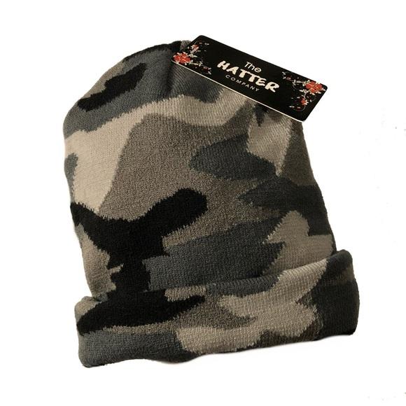 482151e3d2d Black   Gray Camo Knit Beanie